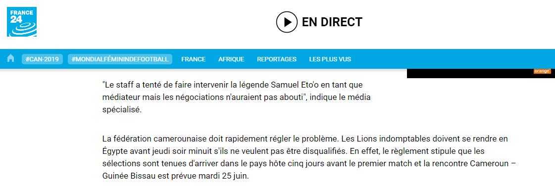 Non, les Lions Indomptables du Cameroun ne s'exposent pas à une disqualification de la CAF pour n'être pas arrivés au Caire jeudi avant minuit