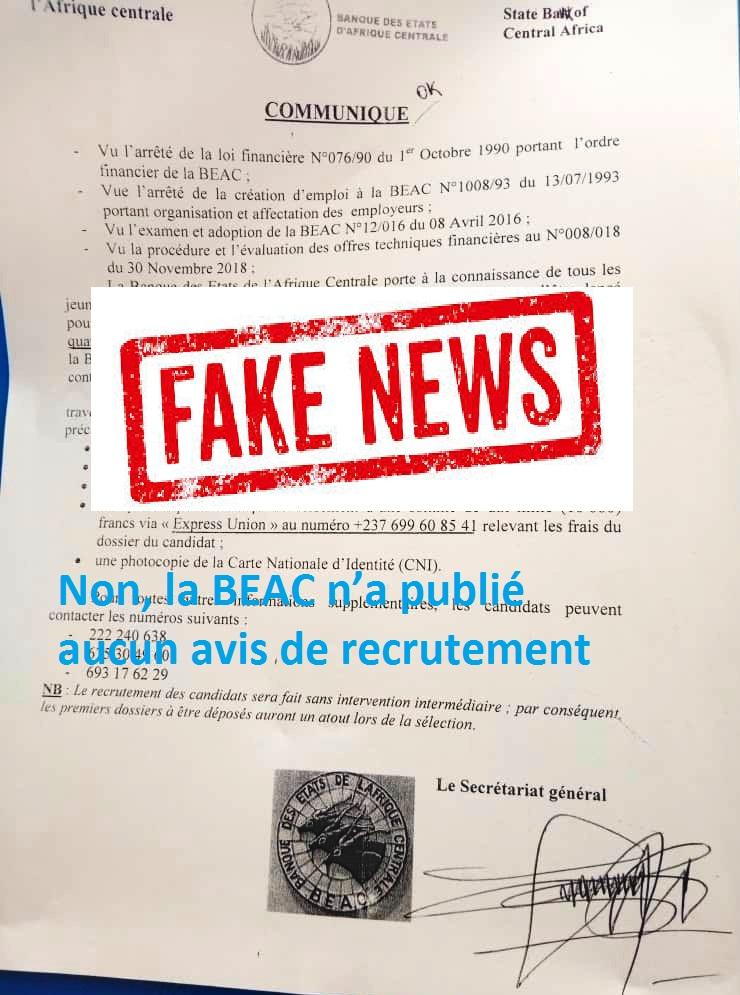 Non, la BEAC n'a publié aucun avis de recrutement