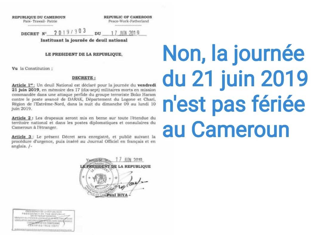 Non, la journée du 21 juin 2019 n'est pas fériée au Cameroun