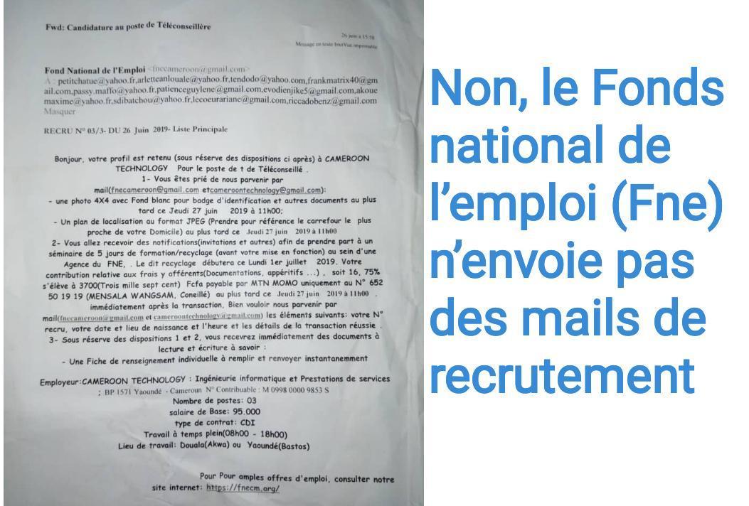 Non, le Fonds national de l'emploi (Fne) n'envoie pas des mails de recrutement au poste de téléconseiller pour Cameroon Technology