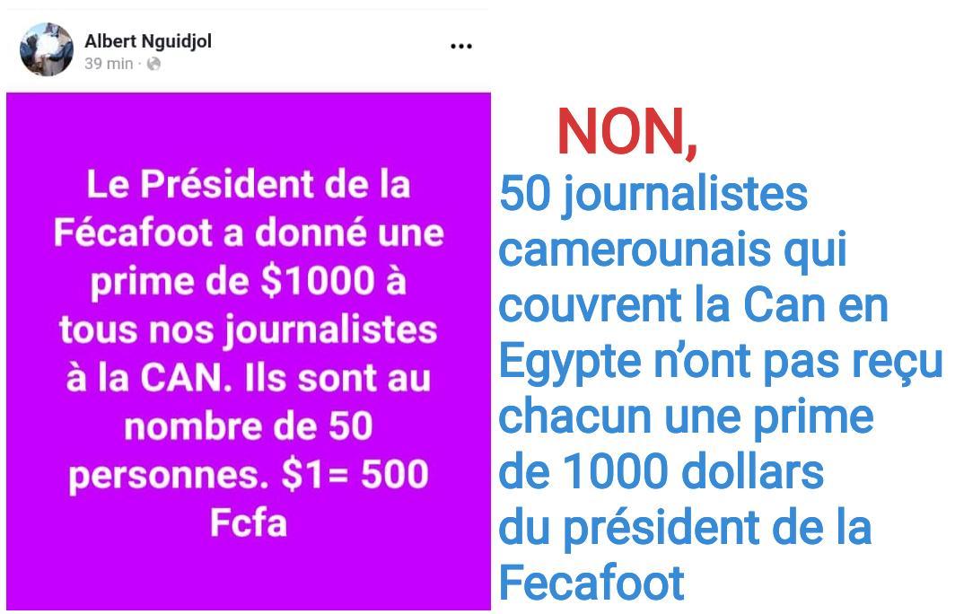 NON, 50 journalistes camerounais qui couvrent la Can en Egypte n'ont pas reçu chacun une prime de 1000 dollars du président de la Fecafoot