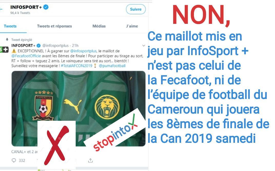 Non, ce maillot mis en jeu par InfoSport + n'est pas celui de la Fecafoot, ni de l'équipe de football du Cameroun qui jouera les 8èmes de finale de la Can 2019 samedi