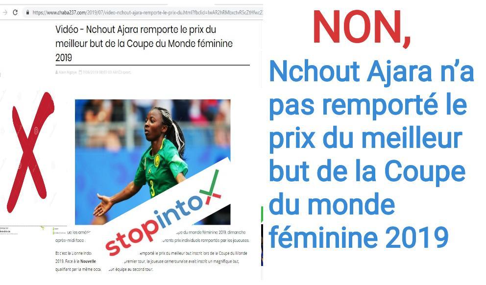 Non, Nchout Ajara n'a pas remporté le prix du meilleur but de la Coupe du monde féminine 2019