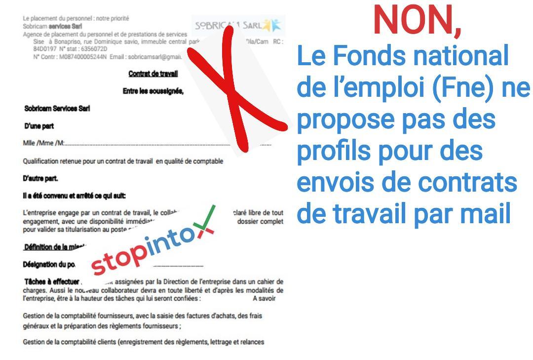 Non, le Fonds national de l'emploi (Fne) ne propose pas des profils pour des envois de contrats de travail par mail