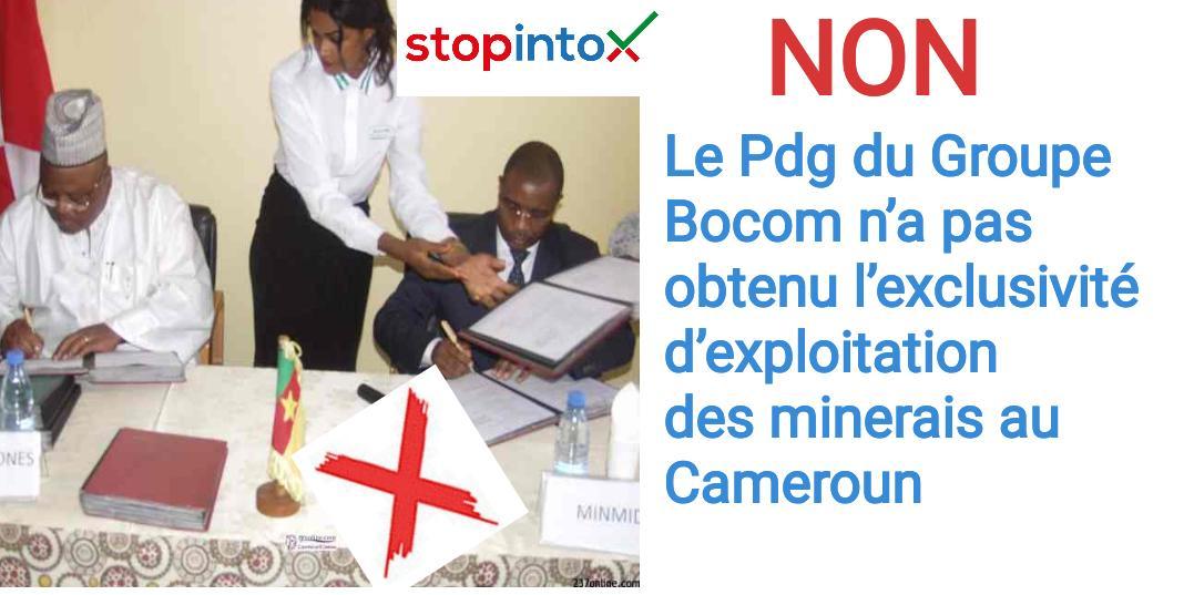 Non, le Pdg du Groupe Bocom n'a pas obtenu l'exclusivité d'exploitation des minerais au Cameroun