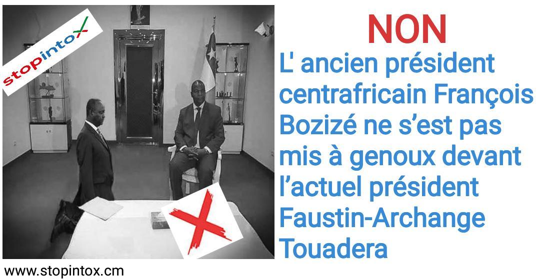 Non, l'ancien président centrafricain François Bozizé ne s'est pas mis à genoux devant l'actuel président Faustin-Archange Touadera