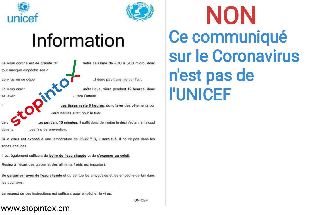 Non, ce communiqué sur le Coronavirus n'est pas de l'UNICEF