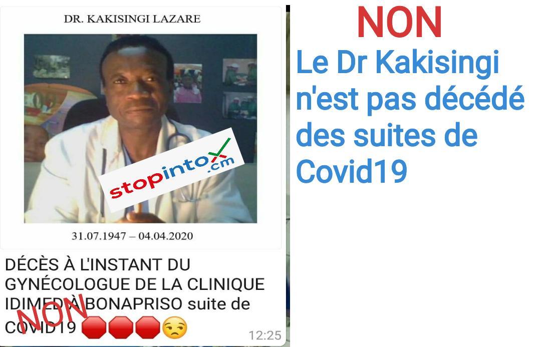 NON, le docteur Kakisingi n'est pas décédé des suites de Covid19
