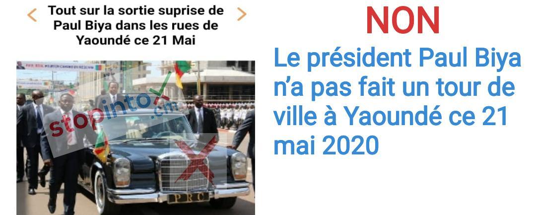 Non, le président Paul Biya n'a pas fait un tour de ville à Yaoundé ce 21 mai 2020