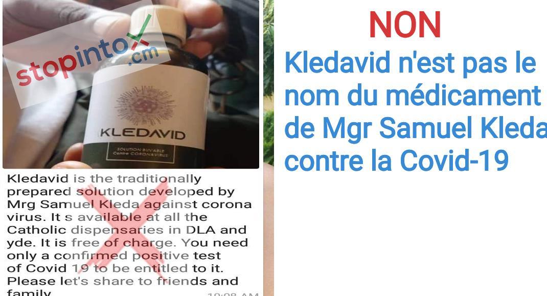 NON, Kledavid n'est pas le nom du médicament de Mgr Samuel Kleda contre la Covid19