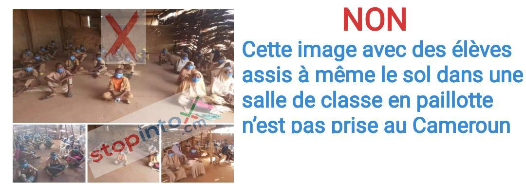 Non, cette image avec des élèves assis à même le sol dans une salle de classe en paillotte n'est pas prise au Cameroun